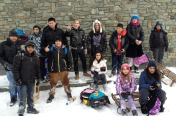 Die Klasse 5 beim Schulausflug auf den Feldberg